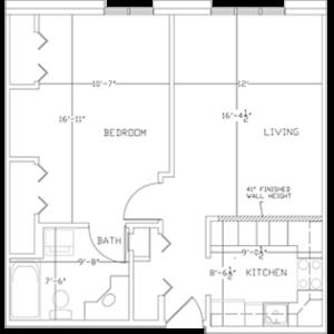 West Bend WI senior living - one-bedroom apartment floor plan