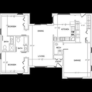 floor plan of West Bend WI senior living homes, Cedar Lake Village