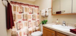 Bathroom of Cedar Community's West Bend senior apartments