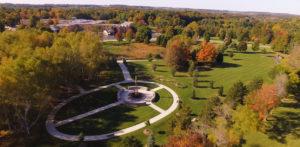 Aerial view of Cedar Community's memorial garden