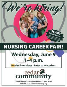 Cedar Community Career Fair June 9, 2021, West Bend